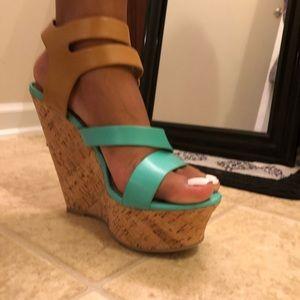 Teal Wedge Heel Sandal